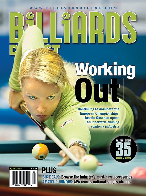 Jasmin Oushan on the cover of Billiards Digest